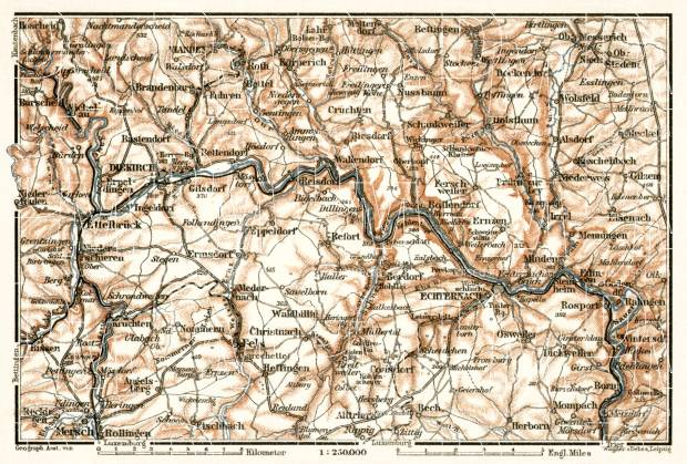 Diekirch, Echternach and their environs map, 1909. Use the zooming tool to explore in higher level of detail. Obtain as a quality print or high resolution image