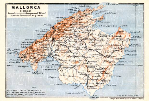 Mallorca map, 1929. Use the zooming tool to explore in higher level of detail. Obtain as a quality print or high resolution image