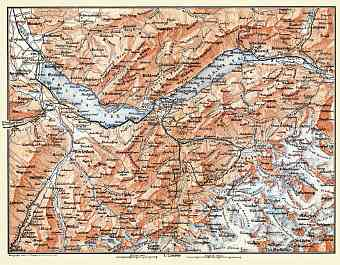 Berne Highlands (Bernese Oberland) map, 1897