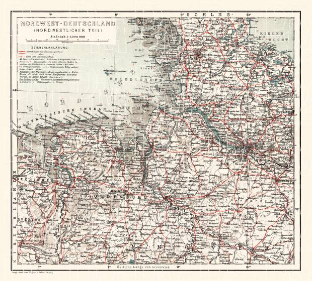Germany, northwestern provinces of the northern part. General map, 1913. Use the zooming tool to explore in higher level of detail. Obtain as a quality print or high resolution image