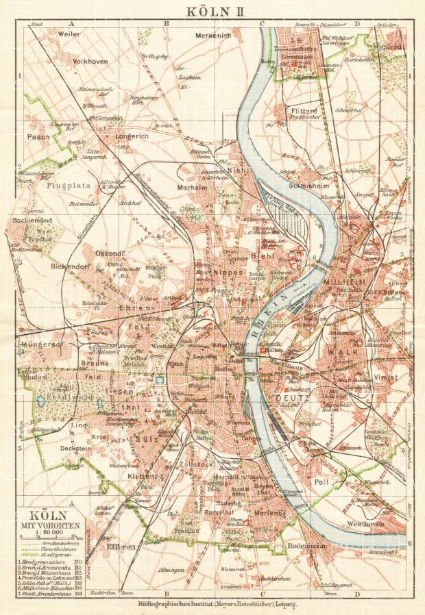 Old map of the environs of Cologne Kln in 1927 Buy vintage map