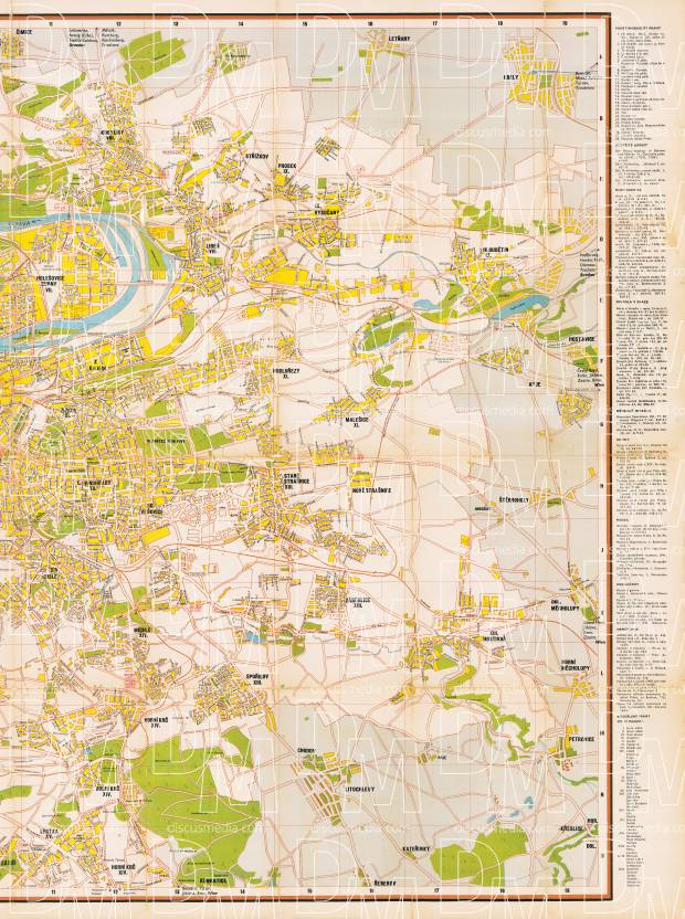 Prague (Praha) city map, 1944 - RIGHT HALF. Use the zooming tool to explore in higher level of detail. Obtain as a quality print or high resolution image