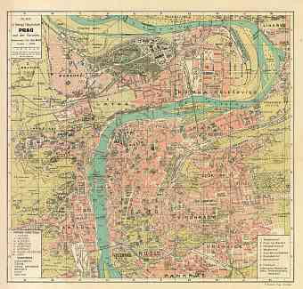 Prague (Prag, Praha) city map, 1913