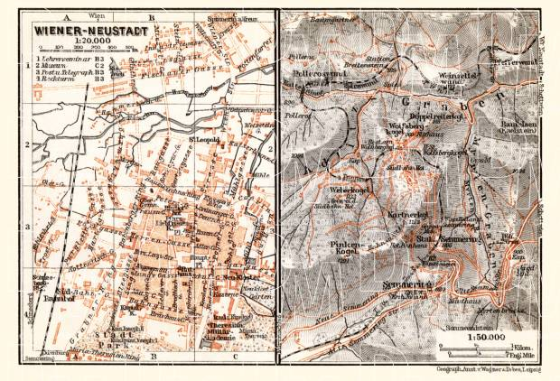 Wiener Neustadt city map, 1910. Use the zooming tool to explore in higher level of detail. Obtain as a quality print or high resolution image