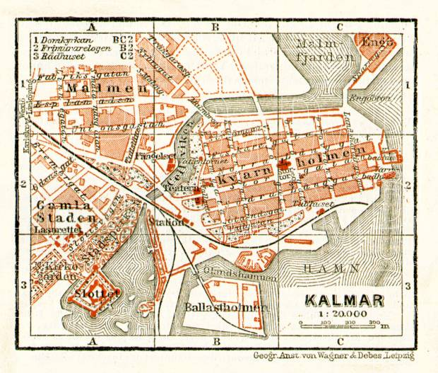 Kalmar city map, 1910. Use the zooming tool to explore in higher level of detail. Obtain as a quality print or high resolution image