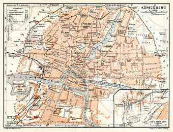 Königsberg (now Kaliningrad) city map, 1906