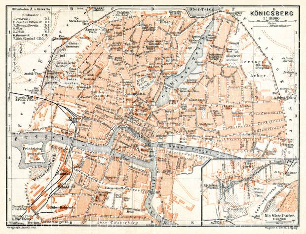 Königsberg (now Kaliningrad) city map, 1906. Use the zooming tool to explore in higher level of detail. Obtain as a quality print or high resolution image