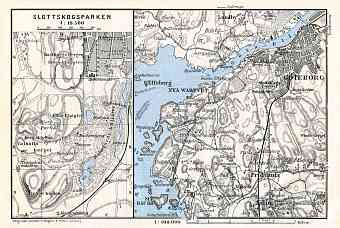 Göteborg (Gothenburg) environs map, 1910