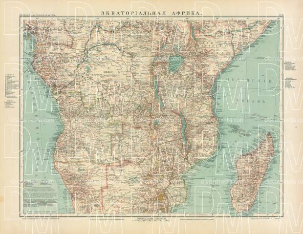 Equatorial Africa Map (in Russian), 1910. Use the zooming tool to explore in higher level of detail. Obtain as a quality print or high resolution image