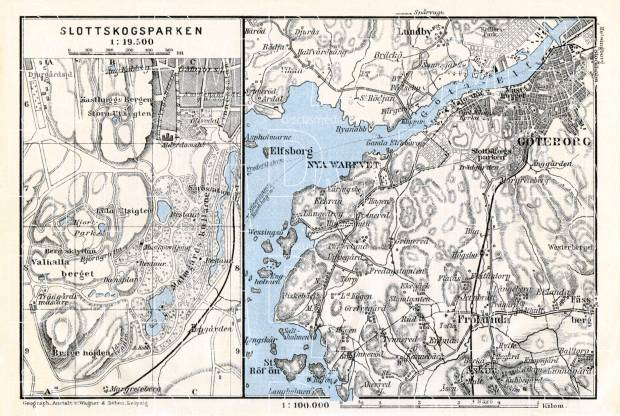 Göteborg (Gothenburg) environs map, 1910. Use the zooming tool to explore in higher level of detail. Obtain as a quality print or high resolution image
