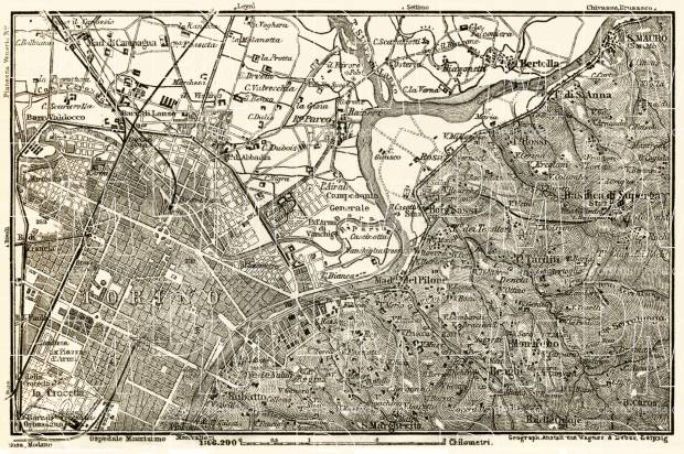 Turin (Torino), environs map, 1913. Use the zooming tool to explore in higher level of detail. Obtain as a quality print or high resolution image