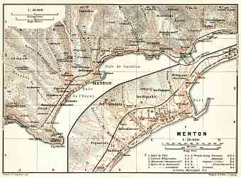 Menton town plan with map of the environs of Menton, 1902