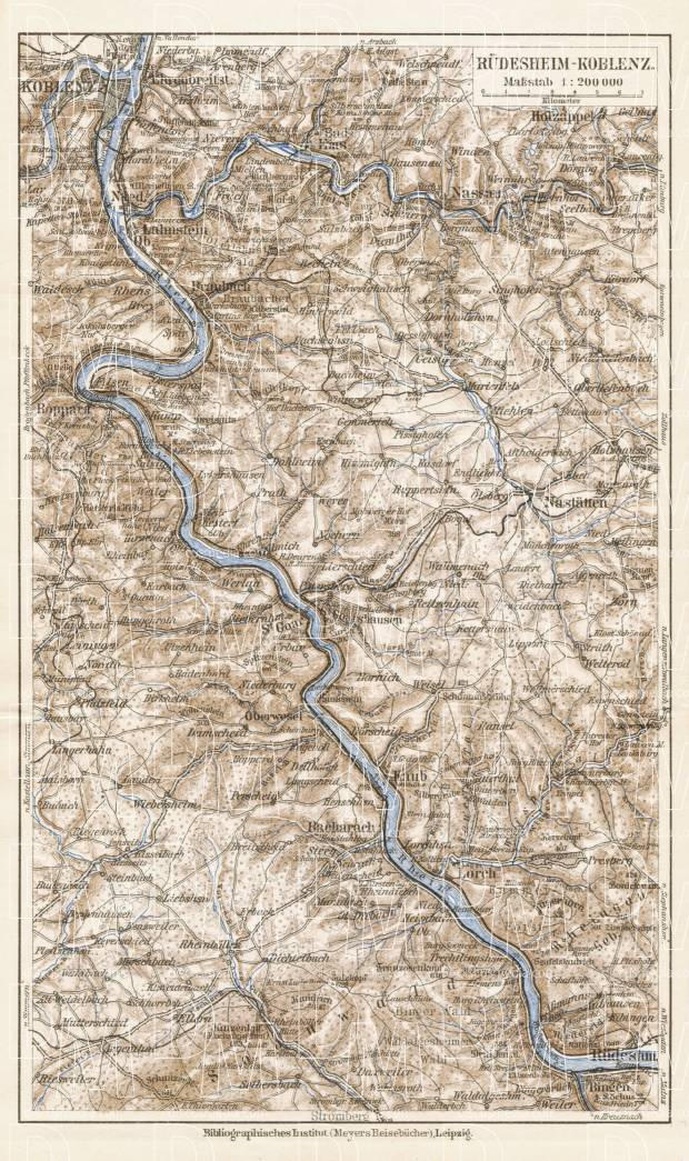 Map of the Course of the Rhine from Koblenz to Rüdesheim, 1927. Use the zooming tool to explore in higher level of detail. Obtain as a quality print or high resolution image
