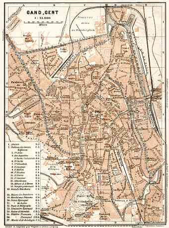 Ghent (Gent) city map, 1909