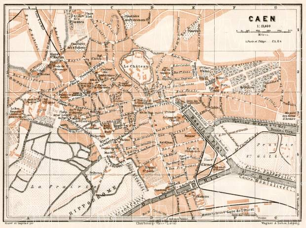Caen city map, 1909. Use the zooming tool to explore in higher level of detail. Obtain as a quality print or high resolution image