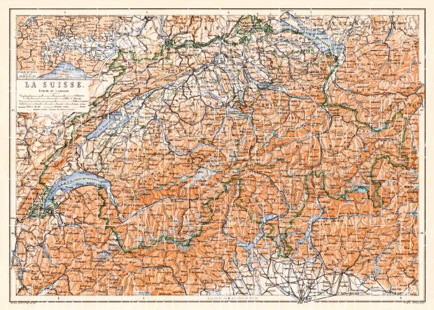 Switzerland, general map, 1897. Use the zooming tool to explore in higher level of detail. Obtain as a quality print or high resolution image