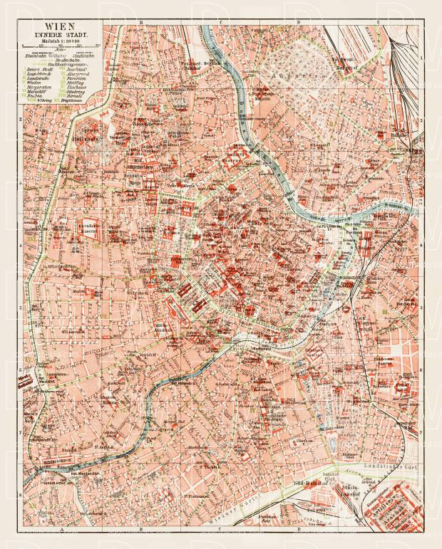 Vienna (Wien), central part map, 1903. Use the zooming tool to explore in higher level of detail. Obtain as a quality print or high resolution image