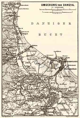 Danzig (Gdańsk) environs map, 1887