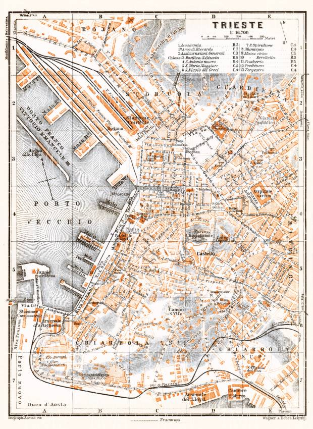 Triest (Trieste) city map, 1929. Use the zooming tool to explore in higher level of detail. Obtain as a quality print or high resolution image