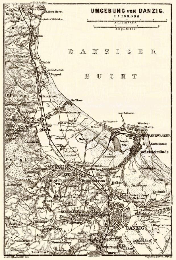 Danzig (Gdańsk) environs map, 1887. Use the zooming tool to explore in higher level of detail. Obtain as a quality print or high resolution image