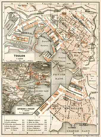 Toulon town plan. Map of the environs of Toulon, 1902