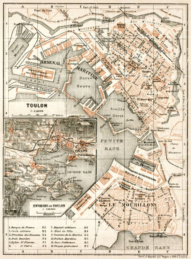 Toulon town plan. Map of the environs of Toulon, 1902. Use the zooming tool to explore in higher level of detail. Obtain as a quality print or high resolution image
