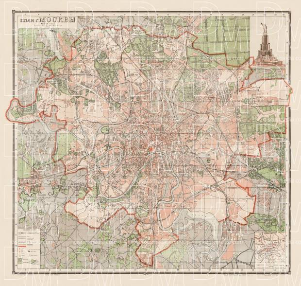 Moscow (Москва, Moskva) city map, 1940. Use the zooming tool to explore in higher level of detail. Obtain as a quality print or high resolution image