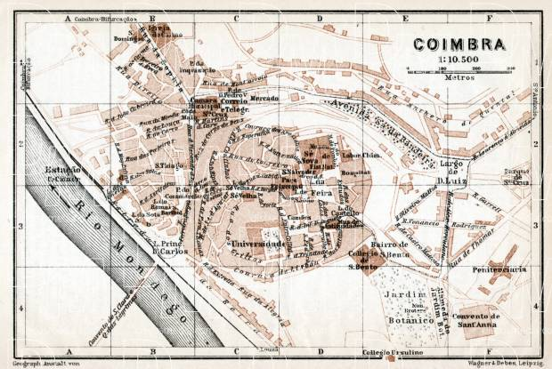 Old Map Of Coimbra In Buy Vintage Map Replica Poster Print - Portugal map coimbra