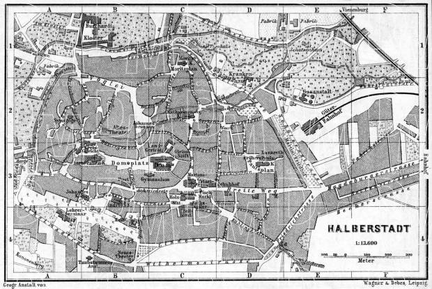 Halberstadt city map, 1887. Use the zooming tool to explore in higher level of detail. Obtain as a quality print or high resolution image