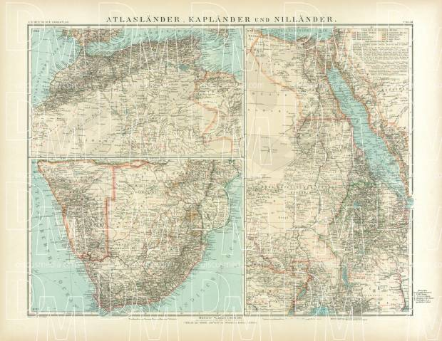 South Africa, the Lands of the Maghreb and Nile Map, 1905. Use the zooming tool to explore in higher level of detail. Obtain as a quality print or high resolution image