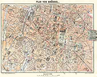 Brussels (Brussel, Bruxelles) city map, 1908