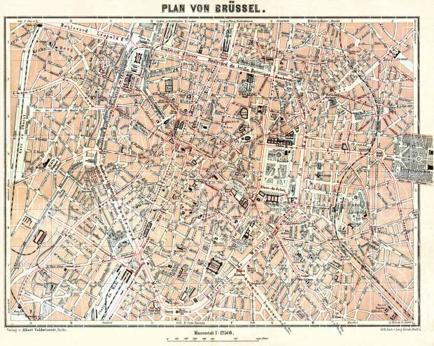 Old map of Brussels Brussel Bruxelles in 1908 Buy vintage map