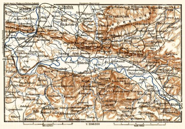 Weser river course map from Minden to Hameln, 1887. Use the zooming tool to explore in higher level of detail. Obtain as a quality print or high resolution image