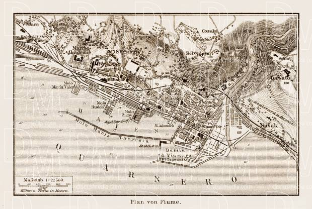 Fiume (Rijeka) city map, 1903. Use the zooming tool to explore in higher level of detail. Obtain as a quality print or high resolution image