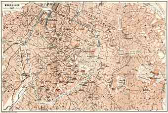 Brussels (Brussel, Bruxelles) city map, 1909