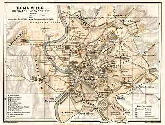 Map of Rome of the Imperial Age (connected to map from 1909)