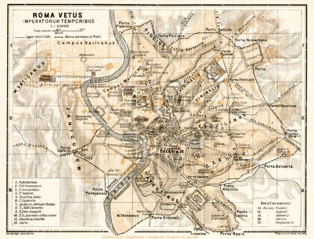 Map of Rome of the Imperial Age (connected to map from 1909). Use the zooming tool to explore in higher level of detail. Obtain as a quality print or high resolution image