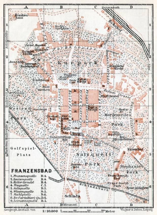 Franzensbad (Františkovy Lázně) town plan, 1910. Use the zooming tool to explore in higher level of detail. Obtain as a quality print or high resolution image
