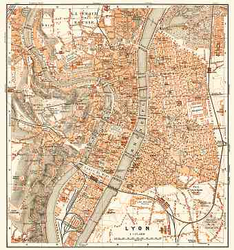 Lyon city map, 1910