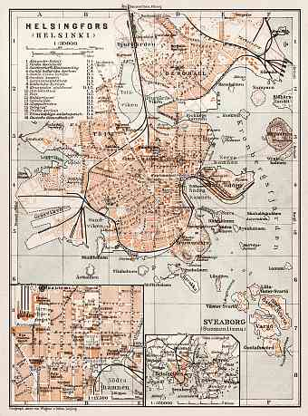 Helsinki (Helsingfors) city map, 1929