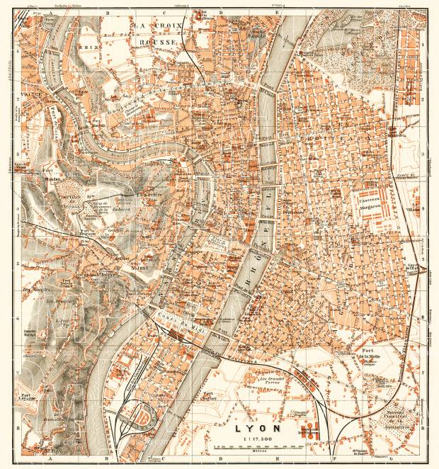 Lyon city map, 1910. Use the zooming tool to explore in higher level of detail. Obtain as a quality print or high resolution image