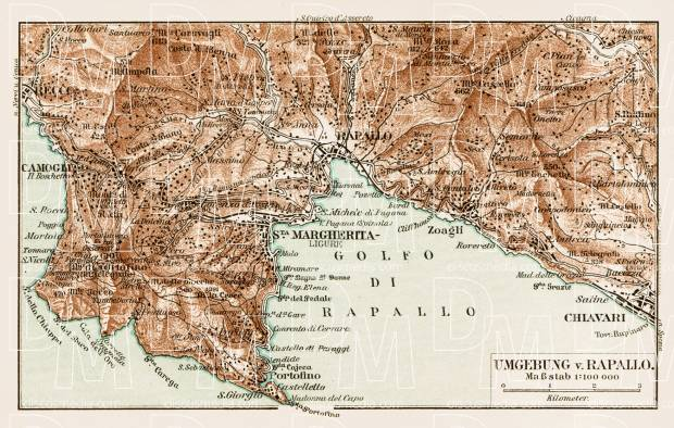 Map of the environs of Rapallo, 1913. Use the zooming tool to explore in higher level of detail. Obtain as a quality print or high resolution image