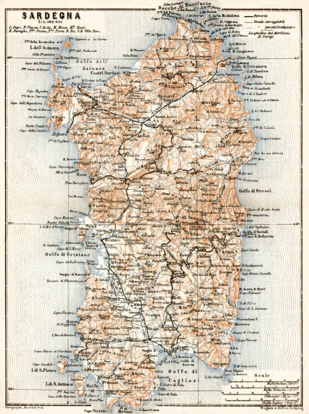 Sardinia (Sardegna) map, 1912. Use the zooming tool to explore in higher level of detail. Obtain as a quality print or high resolution image