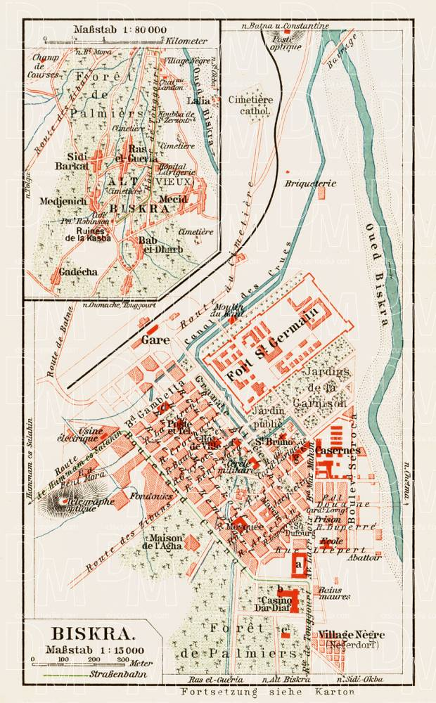 Biskra (بسكرة) city map, 1913. Use the zooming tool to explore in higher level of detail. Obtain as a quality print or high resolution image
