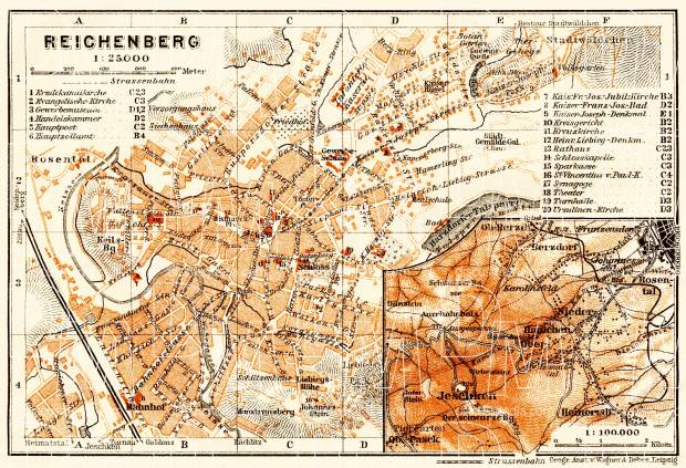 Reichenberg (Liberec), city map. Der Jeschken (Ještěd) and environs map, 1913. Use the zooming tool to explore in higher level of detail. Obtain as a quality print or high resolution image