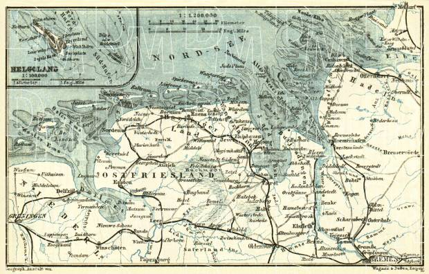 Old map of East Friesland and Helgoland in 1887 Buy vintage map