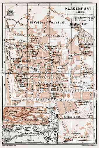 Klagenfurt city map, 1910
