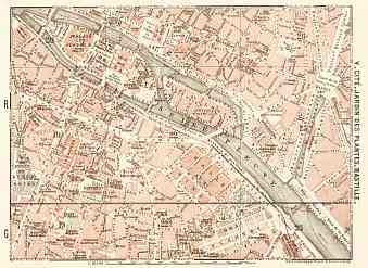 Central Paris districts map: Cité, Jardin des Plantes and Bastille, 1903