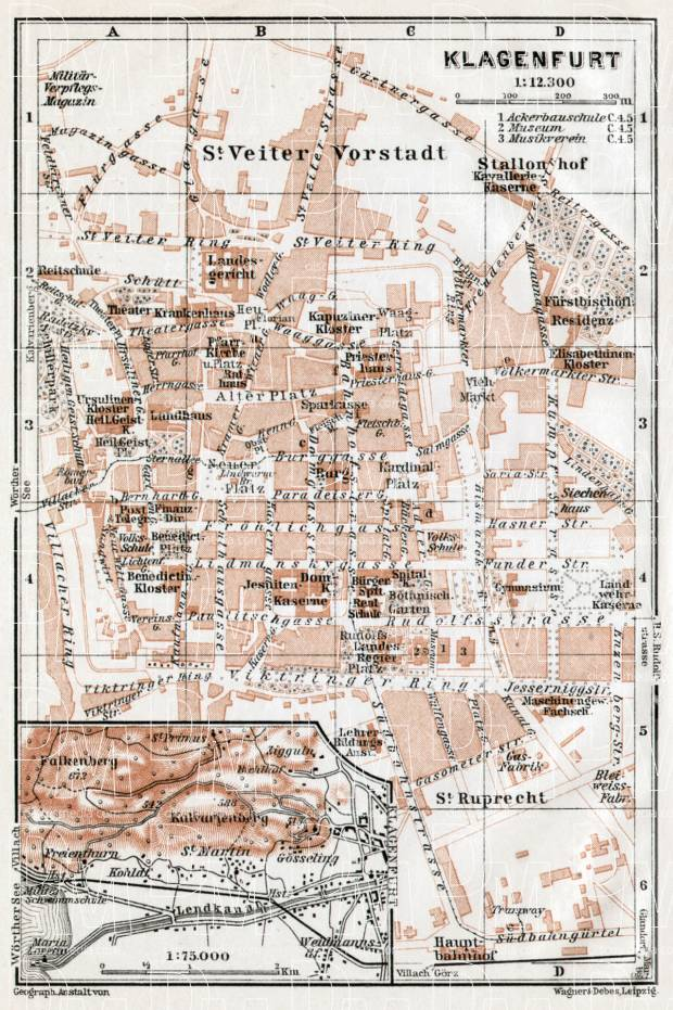 Old map of Klagenfurt in 1910 Buy vintage map replica poster print