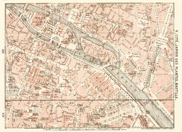 Central Paris districts map: Cité, Jardin des Plantes and Bastille, 1903. Use the zooming tool to explore in higher level of detail. Obtain as a quality print or high resolution image